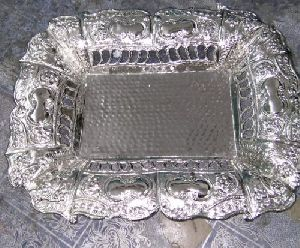 Silver Plated Square Brass Serving Tray