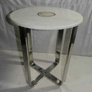Stainless Steel Marble Top Table