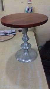 Wooden Top Aluminum Round Table