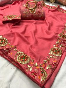 Designer Embroidered Silk Saree With Purse
