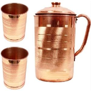 Copper Jug with 2 Glass Set