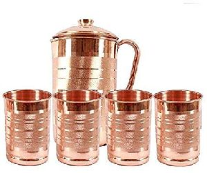 Copper Jug with 4 Glass Set