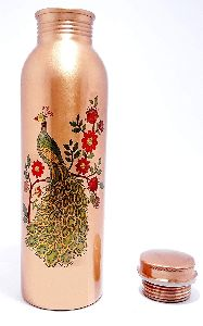 Peacock Printed Copper Bottle