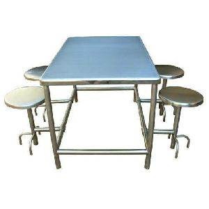 4 Seater Stainless Steel Canteen Table