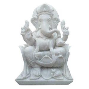 24 Inch Marble Ganesh Statue