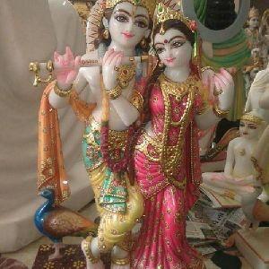 Printed Marble Radha Krishna Statue