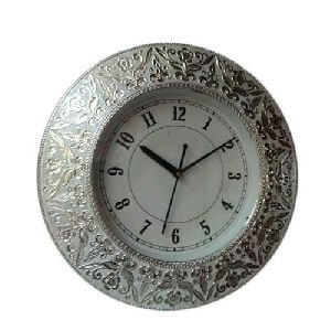 Silver Round Wall Clock