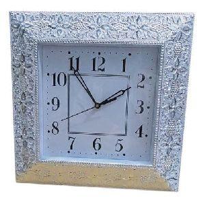 Silver Square Wall Clock