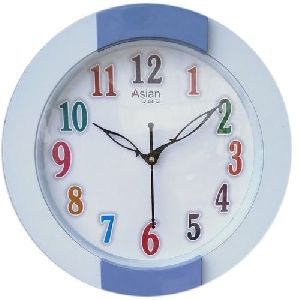 White & Blue Round Wall Clock