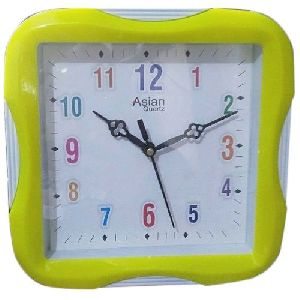 Yellow Square Wall Clock