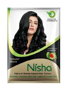 Nisha Natural Color Hair Henna (pack of 6) with free Brush (Natural Black) 10g