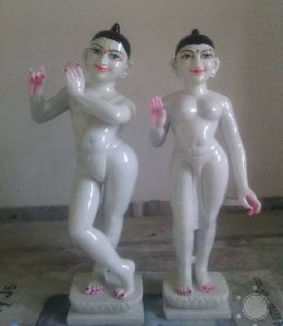 White Iskcon Marble Radha Krishna Statue