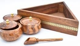 Wooden  Spice Container with brass inlay
