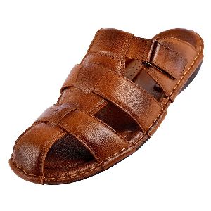 Mens Brown Leather Slippers