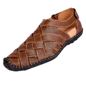 Mens Dark Brown Leather Sandals