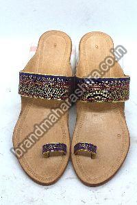 Blue Golden Paithani Box Heel Kolhapuri Chappal