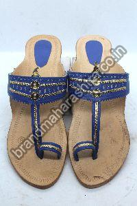 Ladies Blue Belt Box Heel Kolhapuri Chappal