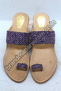 Ladies Blue Braid Box Heel Kolhapuri Chappal