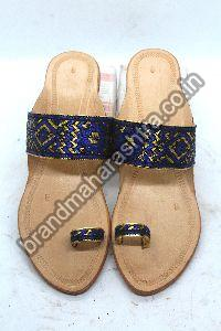 Ladies Blue Paithani Box Heel Kolhapuri Chappal