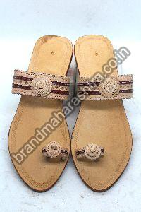 Ladies Dial Strip Box Heel Kolhapuri Chappal