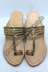 Ladies Golden Belt Box Heel Kolhapuri Chappal