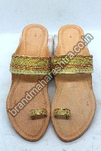 Ladies Golden Paithani Box Heel Kolhapuri Chappal