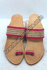 Ladies Moti Work Box Heel Kolhapuri Chappal