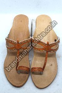 Ladies Orange Mayur Box Heel Kolhapuri Chappal