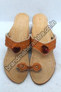 Ladies Orange Strip Box Heel Kolhapuri Chappal