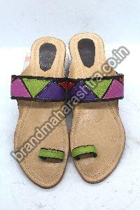 Ladies Patch Green Box Heel Kolhapuri Chappal