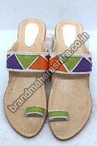 Ladies Patch White Box Heel Kolhapuri Chappal