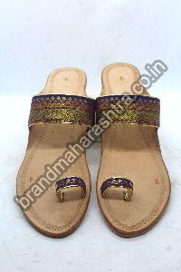 Ladies Purple Paithani Box Heel Kolhapuri Chappal