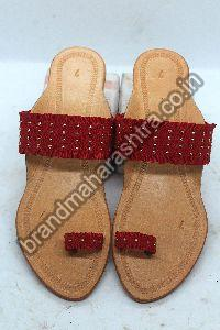Ladies Red Belt Box Heel Kolhapuri Chappal