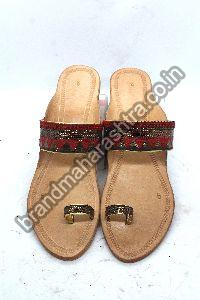 Ladies Red Braid Box Heel Kolhapuri Chappal