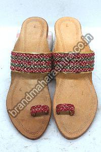 Ladies Red Green Braid Box Heel Kolhapuri Chappal