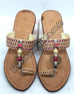 Ladies Round Work Box Heel Kolhapuri Chappal
