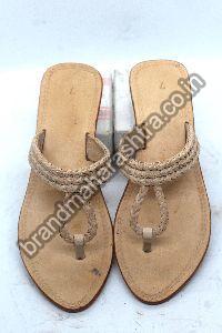 Ladies Twin Braids Box Heel Kolhapuri Chappal