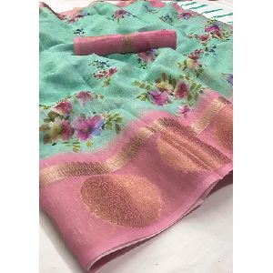 Digital Printed Jacquard Saree
