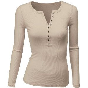 Ladies Henley Neck T-Shirts