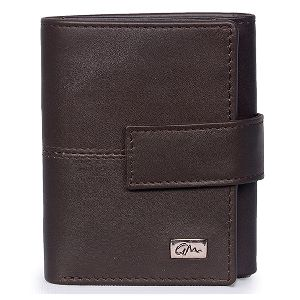 Leather Wallet Tri Fold Brown