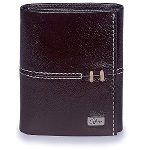 Mini Leather Wallet Tri Fold Brown