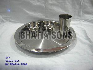 14 Inch Plain Thali Plate Set