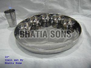 16 Inch Plain Thali Plate Set