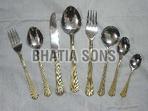 Brass and Steel Cutlery Set