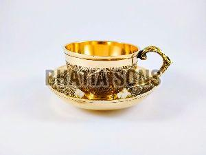 Brass Cup and Saucer