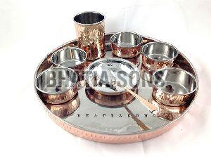 Copper and Steel Thali Set