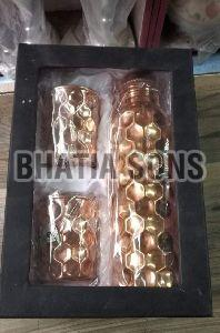 Diamond Design Copper Bottle and Tumbler Set