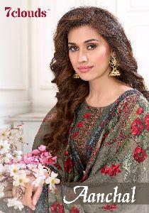 7Clouds Present Aanchal Pure Pashmina Dobby Print Salwar Kameez