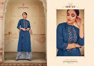 Rangoon Presents Manjree Rayon with Embroidery Work Kurtis and Plazzo