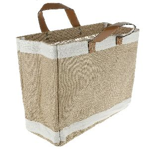 Leather Handle Jute Bag